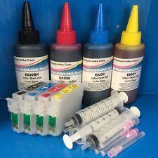 4 REFILLABLE CARTRIDGES + 400ML INK EPSON SX515W BX300F D78 D92 DX4000 Non OEM