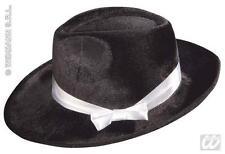 Black Velvet Gangster Hat With Ribbon Michael Jackson Fancy Dress