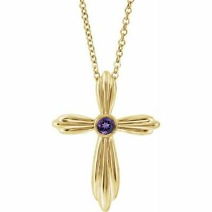 "Amethyst Bezel-Set Cross 16-18"" Necklace In 14K Yellow Gold"