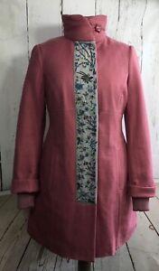 Coat Noa Noa Keystone RRP: £169  S  UK 10/12 pink cotton linen winter embroidery