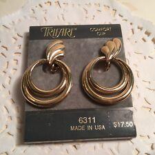 Trifari Comfort Clip On Earrings Goldtone Lovely Vintage Pair Of Designer Signed