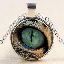 Vintage cheetah eye Cabochon Tibetan Silver Glass Chain Pendant Necklace E