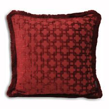 """Claret Red Cushion Cover Jacquard Chenille 22"""" Paoletti Belmont"""