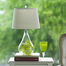 European Country Style Transparent  Glass Bedside Desk Table Lamp DIY Style B