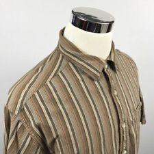 ExOfficio Mens XL Mesh Vented Brown Striped Cotton Short Sleeve Outdoor Shirt