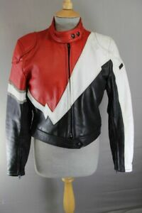 SUPERB EUROX CLASSIC BLACK, RED & WHITE LEATHER BIKER JACKET 36 INCH