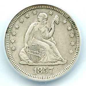 1857 Liberty Seated Quarter, ANACS VF35