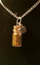 Belle Inspired Mini Glitter Bottle Necklace Princess Beauty and the Beast Book