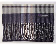 100% Cashmere Scarf Navy Blue Brown Flannel Check Plaid Scotland Wool R3927 Men