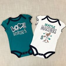 Seattle Mariners Baby Girls Infant Onepiece Bodysuit Creepers Lot Of 2 | 6-9 Mo.
