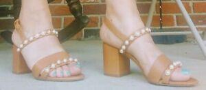 Tory Burch Emmy Sandals Leather Block Heel Shoes Women's 8M Tory B.Flat Sandals