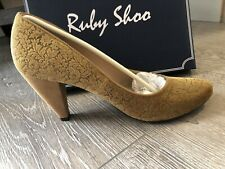 Ruby Shoo Leah High Heal Court Shoe Gold New Boxed Uk Size 8 41