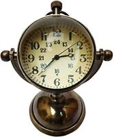 Antique vintage brass desktop clock collectible maritime table top watch gift