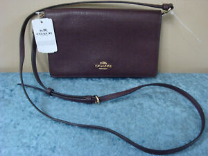 COACH Pebble Leather Foldover Clutch Crossbody~Oxblood~NWT!!!MSRP$175