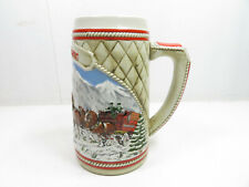 1985  Anheuser Busch  AB  Budweiser Bud Holiday Christmas Beer Stein Clydesdales