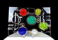 """HIGGINS GLASS FORNASETTI STYLE POCKET WATCHES LRGE RECTANGLE 14"""" ASHTRAY 1957-64"""