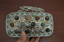AGATE STONE BEADS HANDMADE BRASS METAL PURSE #8006