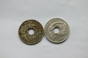 FRENCH INDO CHINA 5 CENTS 1938 COPPER NICKEL RARE UNC + 1938 NICKEL BRASS A99 SG