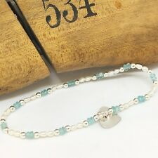 Pearl Aquamarine Silver Heart Stretch Bracelet, Handmade Sterling Silver