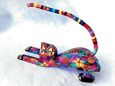 CAT Alebrije With Many Colors Hand Painted Oaxacan Wood Carving Oaxaca Mexico