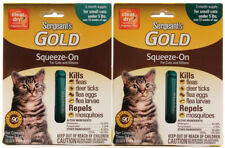 2 Packs Sergeant's Gold Squeeze On Cats Kittens Kills Fleas Ticks Eggs Larvae