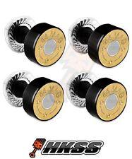 4 Black Billet Aluminum License Plate Frame Tag Bolts - 44 MAG BULLET B 9RM