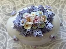 Vintage Irish Dresden Porcelain Spring Lavender Lace Flowers Easter Egg Purple