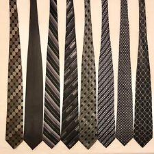 8 Men's Ties ALL LONG Black Grey BCBG Croft & Barrow Garati Vtg Silk Tie Lot