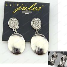 """CLIP ON 2""""big RETRO OVAL drop earrings SILVER FASHION rhinestone CRYSTAL CLIPS"""