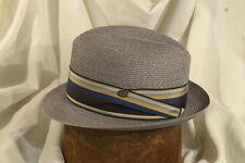 Classic 60's Stetson 'Capri' Summer Light Gray Milan Straw Fedora Size 7