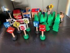 40 Brio Wooden Train Lot, Signs, People, Trees, Light Poles Bldgs Fits Thomas