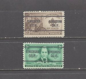 CALIFORNIA Precancels: Boy + Girl Scout Stamps (# 974 + 995)