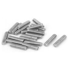 M6 x 25mm Fully Threaded 304 Stainless Steel Rod Bar Studs Silver Tone 20 Pcs