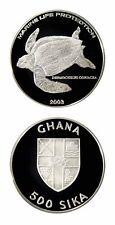 Ghana Leatherback Sea Turtle 2003 500 Sika-Proof Silver Crown