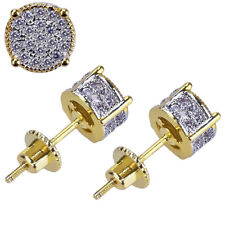 Zirconia Micropave Earring Stud Round Hip Hop 2X Men Gold Plated Two Tone Cubic