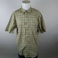 Cabela's Outfitter Series Green Brown Short Sleeve Button Up Check Shirt Mens L