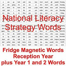 National Literacy Strategy Fridge Magnets Words Reception Year plus Year 1 and 2