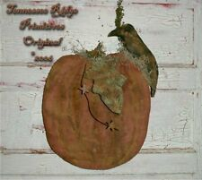 Primitive Pattern Grungy Pumpkin /crow Door Hanger Extreamly Prim Halloween !