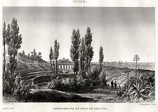 SIRACUSA: Panorama. Regno delle Due Sicilie.Sicilia. ACCIAIO. Stampa Antica.1838