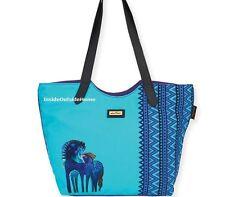 Laurel Burch Indigo Horses Teal Mares LARGE Scoop Shoulder Tote Bag New 2017