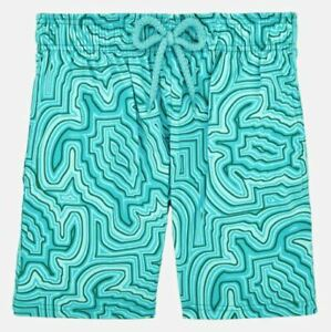 NWT Vilebrequin Boys Swim Trunks Curacao Aqua Hypnotic Turtles