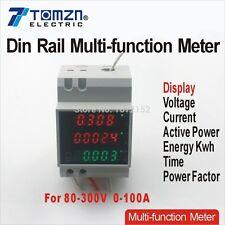 Guida DIN LED AC 80-300v 0-100.0a VOLTMETRO AMPEROMETRO CONTATORE DI ENERGIA display
