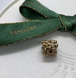 Pandora 14k Floral Daisy Gold Charm With Diamonds 750344D Authentic Ale As New