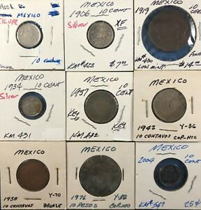 9 Different Mexico 10-Centavos Coins ~ 3 Silver(1900, '06, '34) & 1937 Key Date!