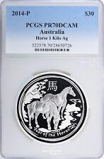 2014-P Australia $30 Silver Horse Kilogram PCGS Proof-70 DCAM
