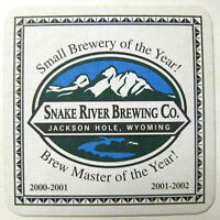 SNAKE RIVER BREWING Beer COASTER, Mat with MOUNTAINS, Jackson Hole, WYOMING 2002