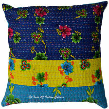 "Cotton 16"" Floral Cushion Pillow Cover Kantha Embroidered Throw Indian Decor"