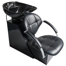 New Salon Backwash Shampoo Chair Ceramic Bowl Sink Leather Seat Unit Station Spa