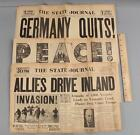 3 Antique WWII Newspapers, Germany Quits, Japan VJ Day & D Day, NO RESERVE