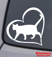 CAT HEART Vinyl Decal Sticker Car Window Wall Bumper Animal Adopt Paw Love Pet